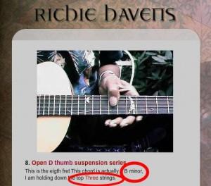 Richie Havens' B minor chord